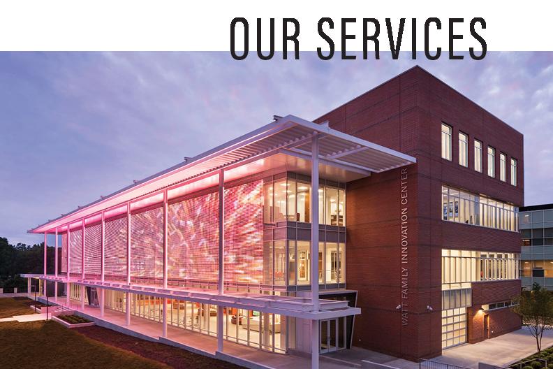 Clemson University Watt Family Innovation Center Exterior Media Mesh Grid
